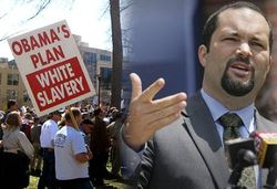 Ben Jealous and Tea Party Sign