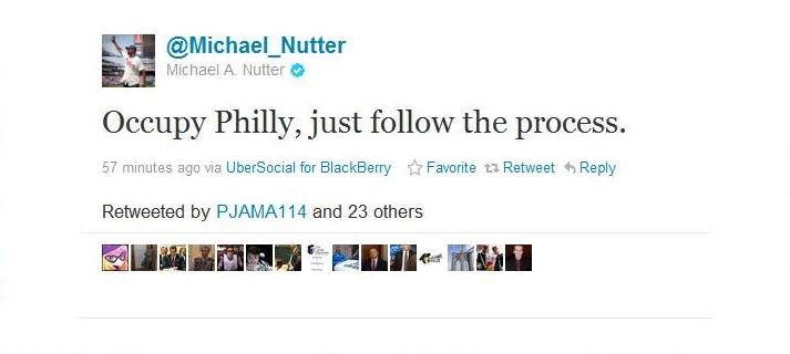 Occupy Philly - Michael Nutter Tweet - 11.17.11
