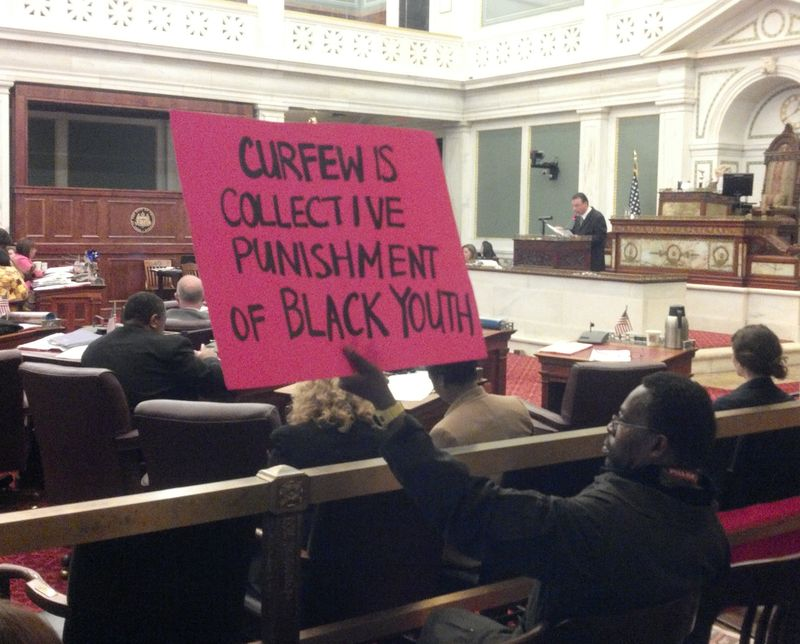 Occupy Philly - City Council Hearing - Curfew Sign - 10.28.11