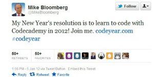 Michael Bloomberg Tweet - 1.6.12