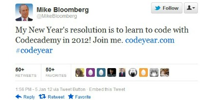 Michael Bloomberg Tweet - 1.6.12