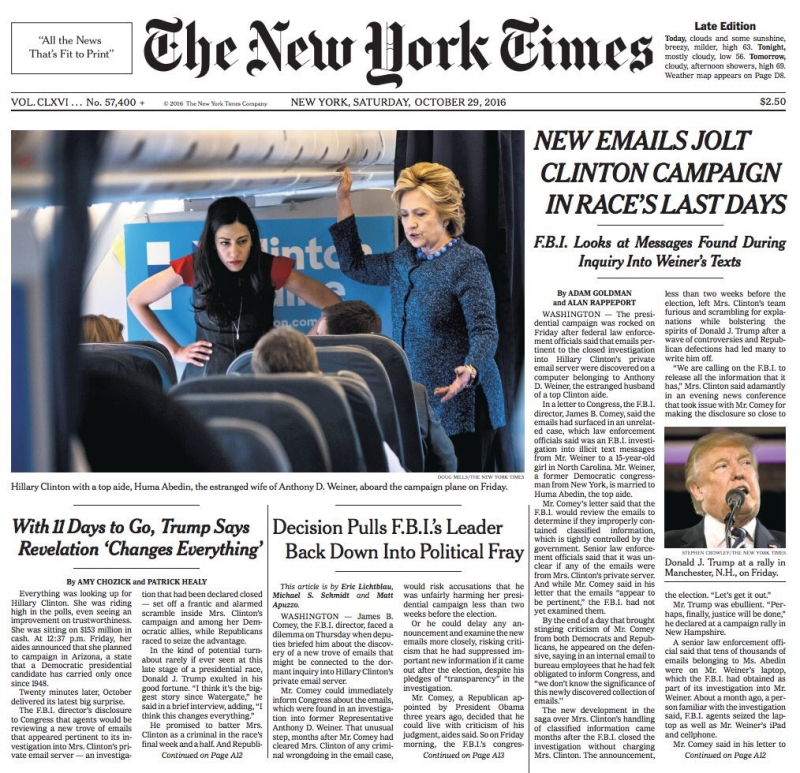 New York Times Front Page - 10.29.16