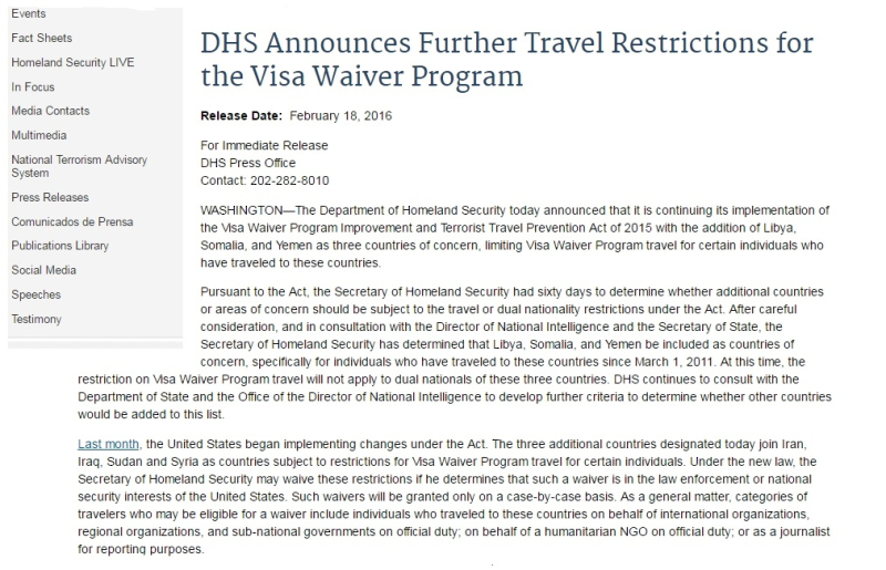DHS Announces Further Travel Restrictions for the Visa Waiver Program