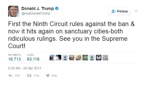 Trump Sanctuary City Ruling Tweet