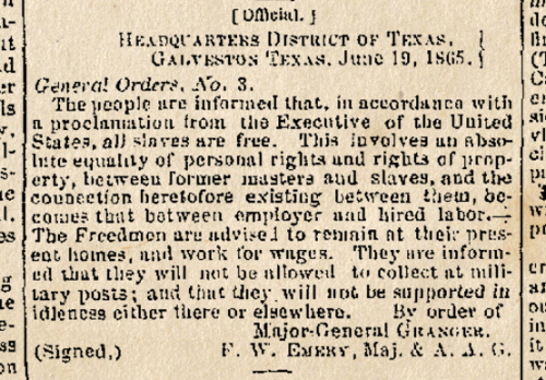 Juneteenth - General Order No. 3