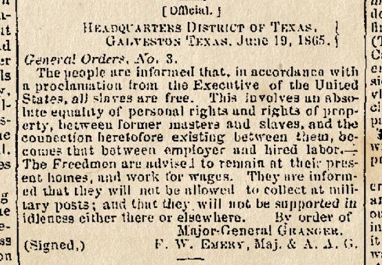 Juneteenth - General Order No. 3