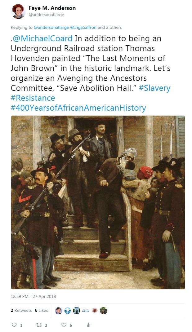 Tweet - April 27  2018 - Abolition Hall - Last Moments of John Brown