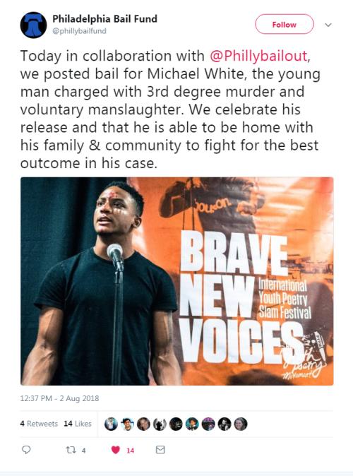 Philadelphia Bail Fund Tweet - 8.2.18