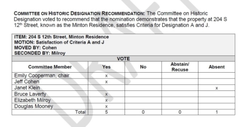 Henry Minton Residence - Committee on Designation Vote