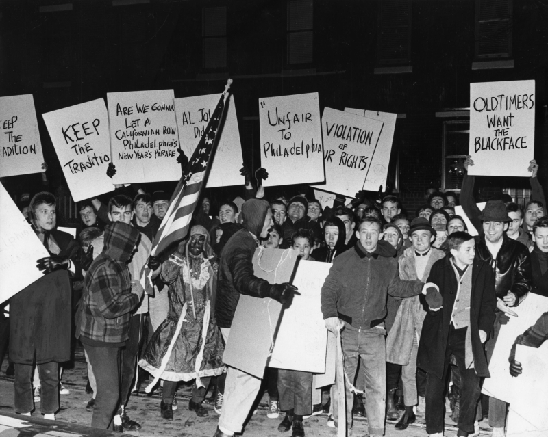 Demonstrators protest ban of blackface in Mummers parade  December 19  1963