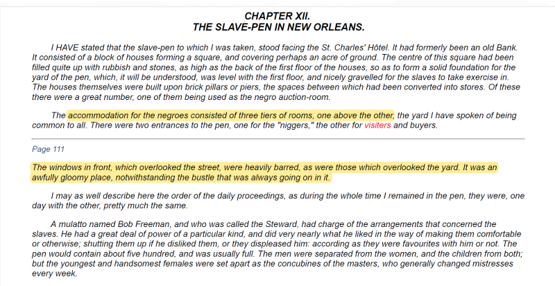 John Brown Slave Narrative - New Orleans Slave Pen