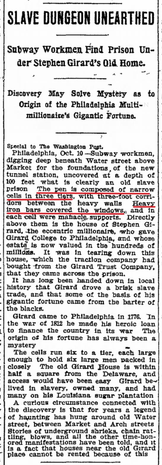 Stephen Girard Slave Pen Discovery - Chicago Tribune  October 11  1909 - Overlay
