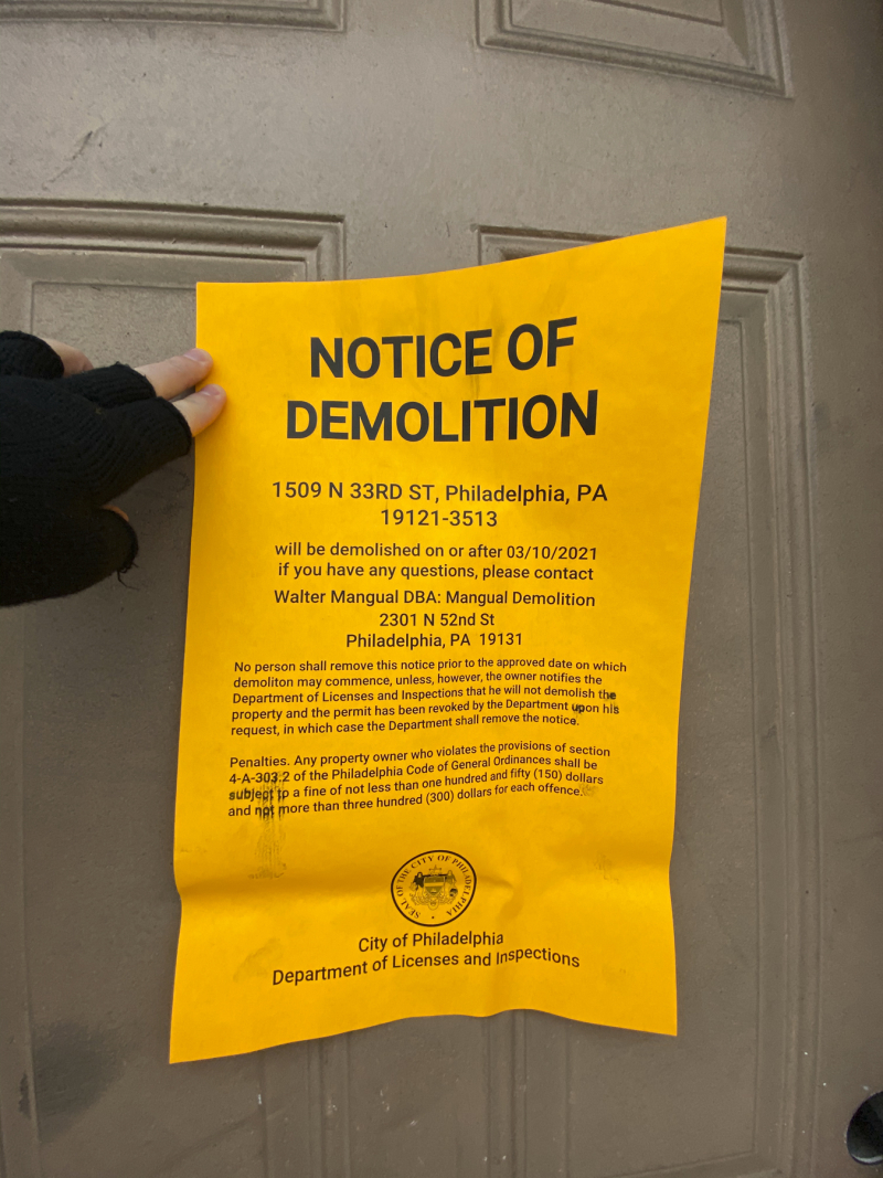 1509 N 33rd Street - Notice of Demolition