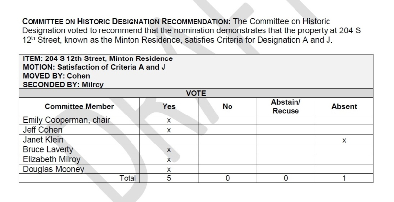 Henry Minton Residence - Committee on Designation Vote - Feb. 13  2019
