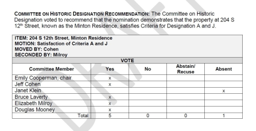 Henry Minton Residence - Committee on Designation Vote - Feb. 13  2019