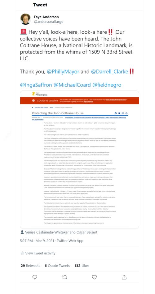 John Coltrane House Tweet - March 9  2021