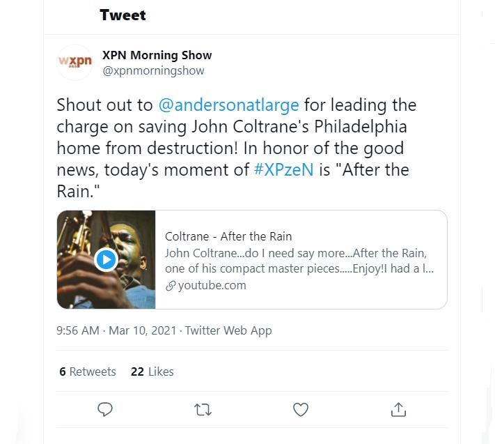 John Coltrane House Tweet - WXPN Morning Show - March 10  2021