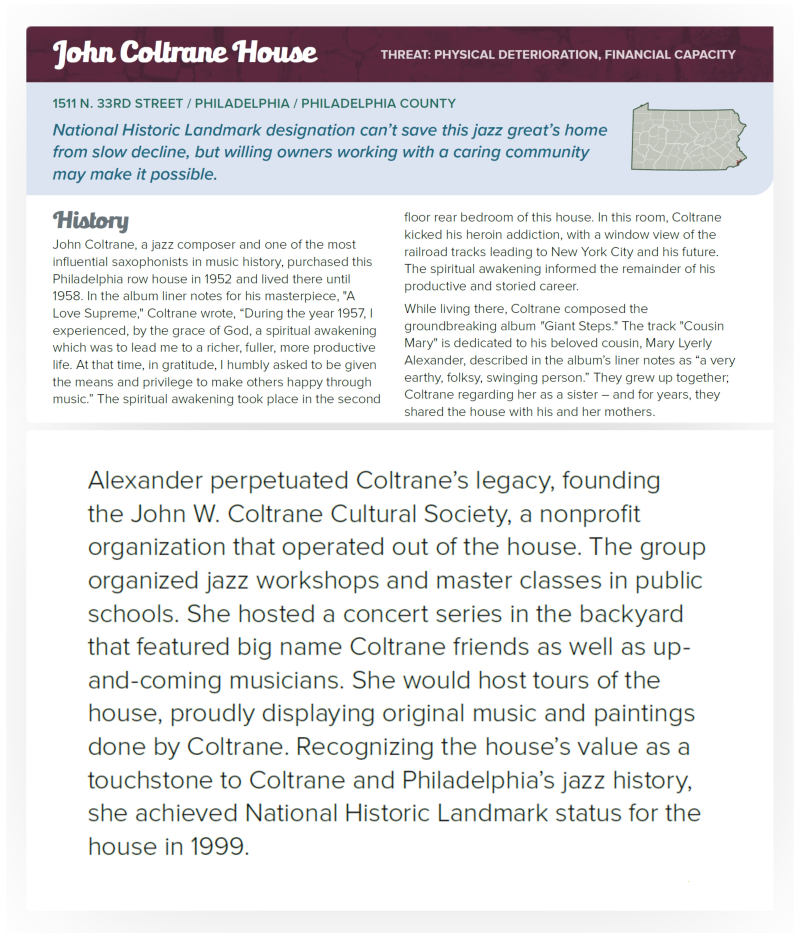 Preservation Pennsylvania - John Coltrane House