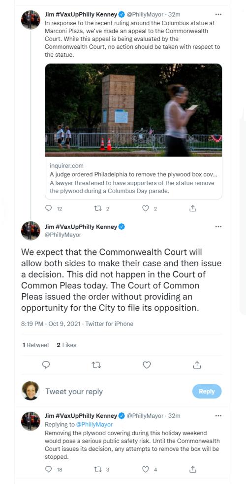 Christopher Columbus Statue - Mayor Kenney Tweets - October 9  2021